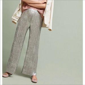 Anthropologie Elevenses glistened metallic pants M